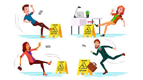 Slippery Concept Vector. Wet Slippery Floor. Slip People And Fall On. Illustration
