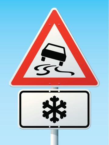 Slippery Road Risk Of Ice German Warning Sign