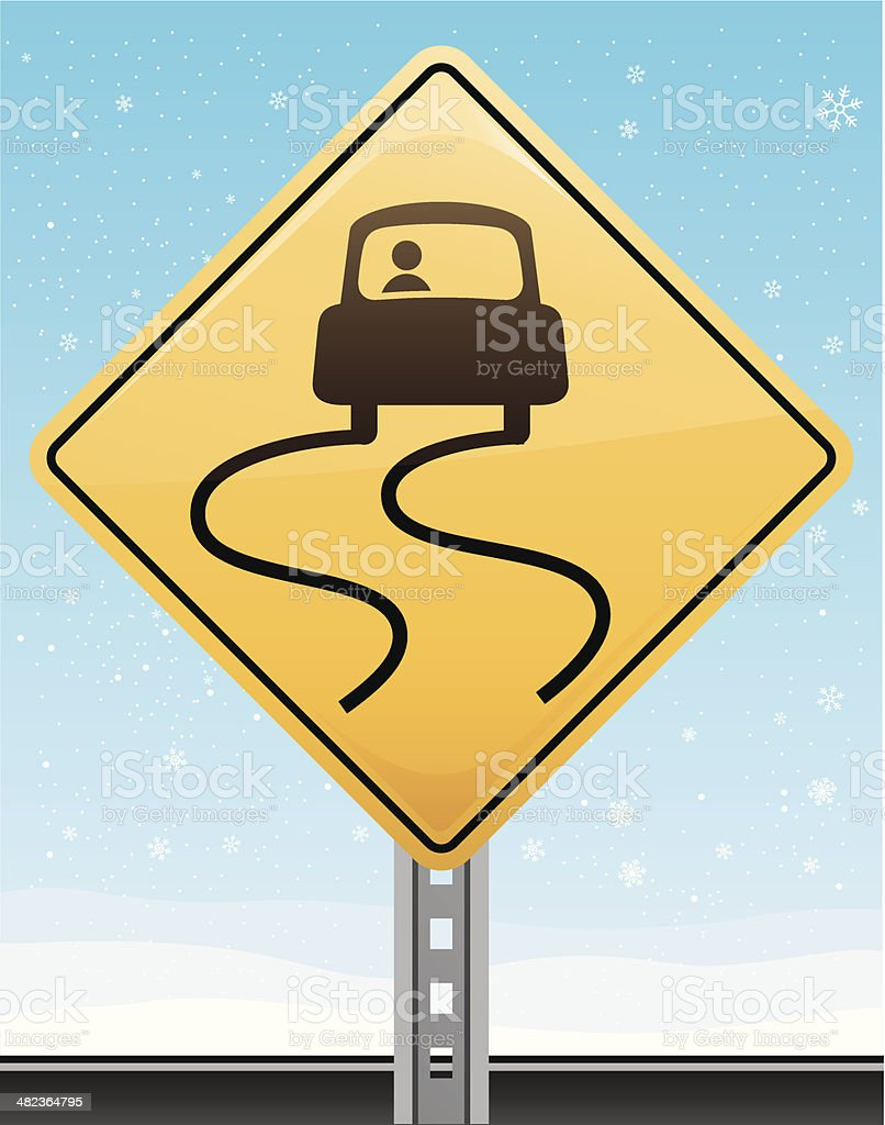 Slippery Road Sign royalty-free slippery road sign stock vector art & more images of car