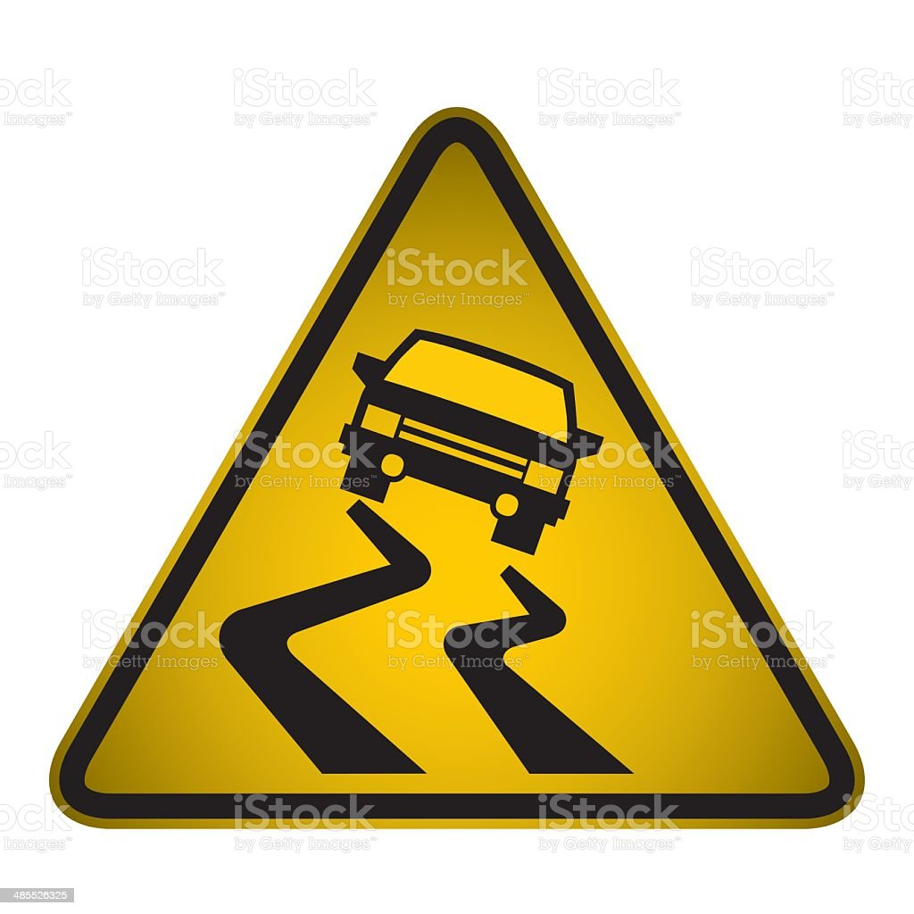 Slippery Road Warning Sign- Vector royalty-free stock vector art