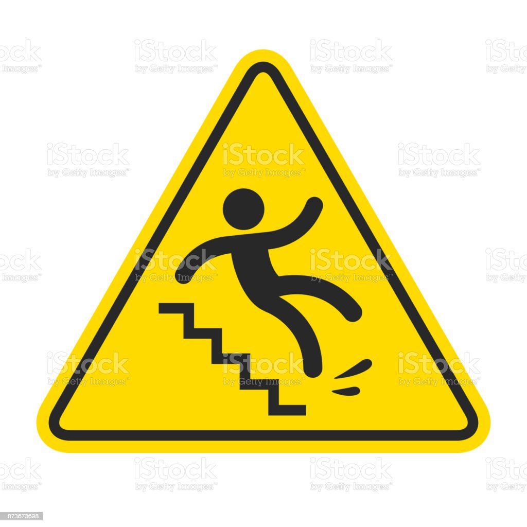 Slippery Stairs Warning Royalty Free Stock Vector Art