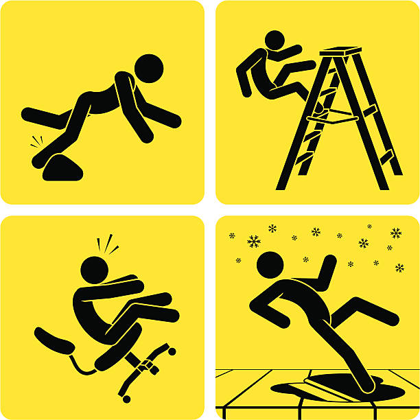 Slips, Trips & Falls 1 A bunch of accident-prone little guys doing what they do best: incurring severe injury. place of work stock illustrations