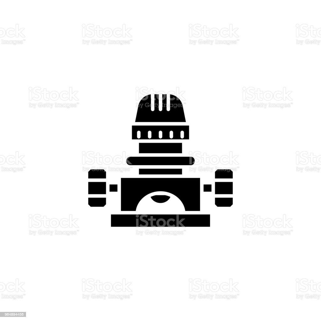 分切機黑色圖示概念。分切機平面向量符號、符號、插圖。 - 免版稅一組物體圖庫向量圖形