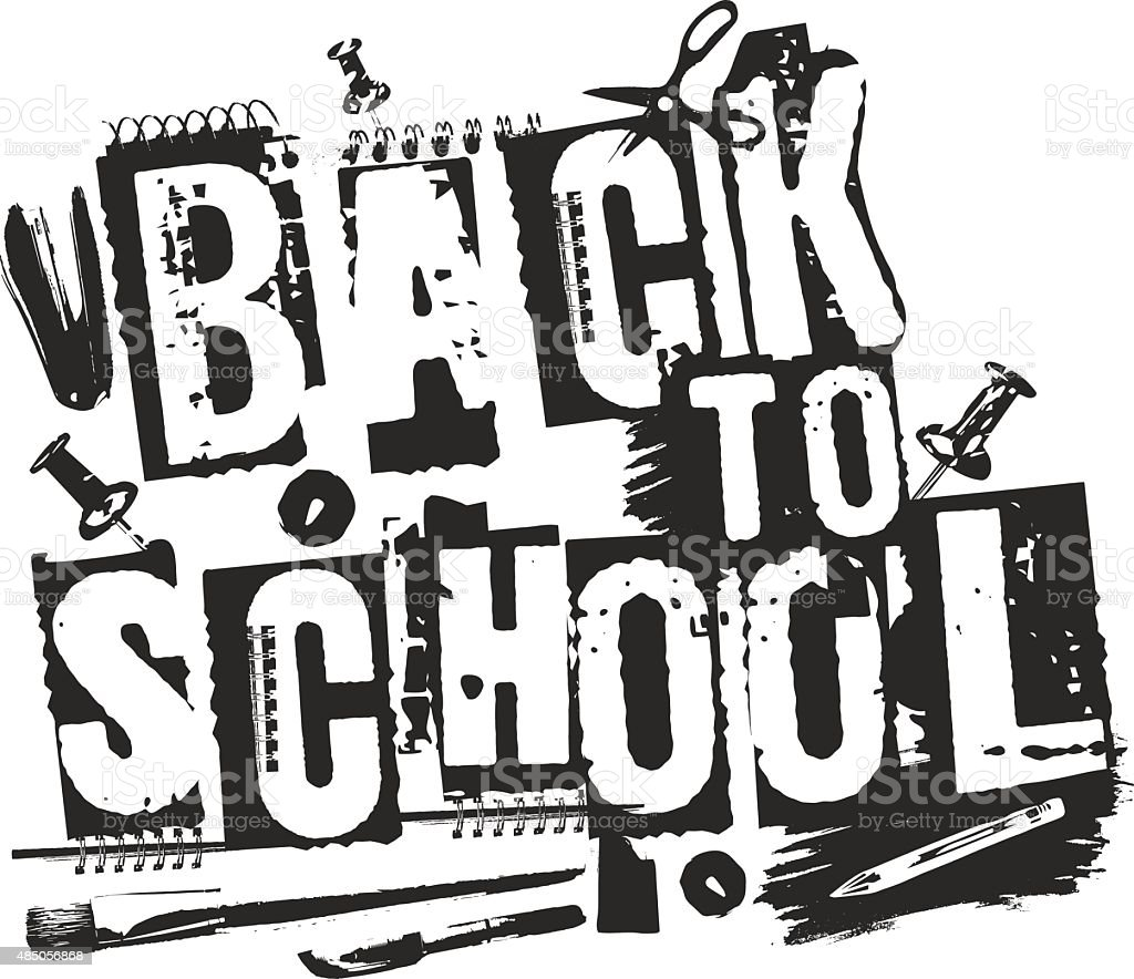 Slogan Back to school, grunge style. Shabby printed words. vector art illustration