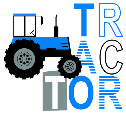 slogan graphic with vector tractor illustration for boys and babies t-shirt graphic
