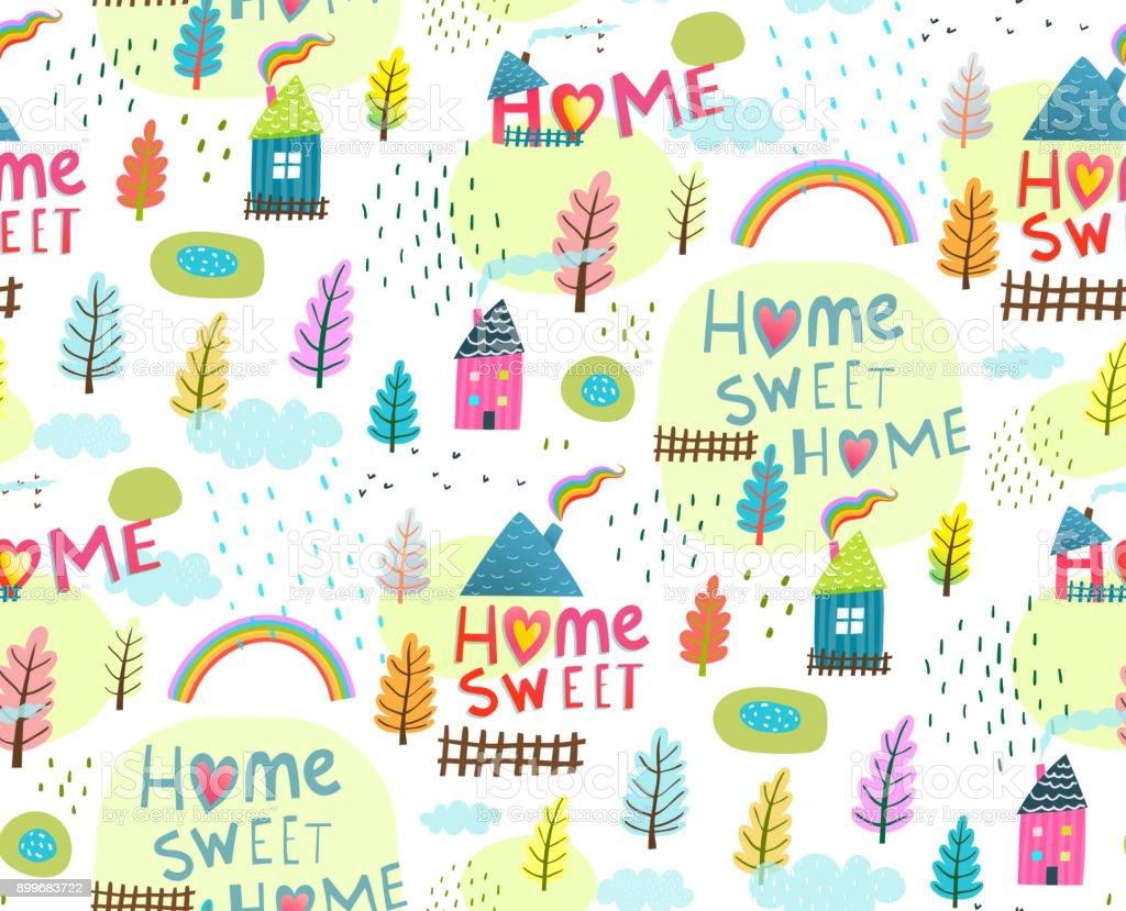 Nahtlose Hintergrund Slogan Home Sweet Home – Vektorgrafik