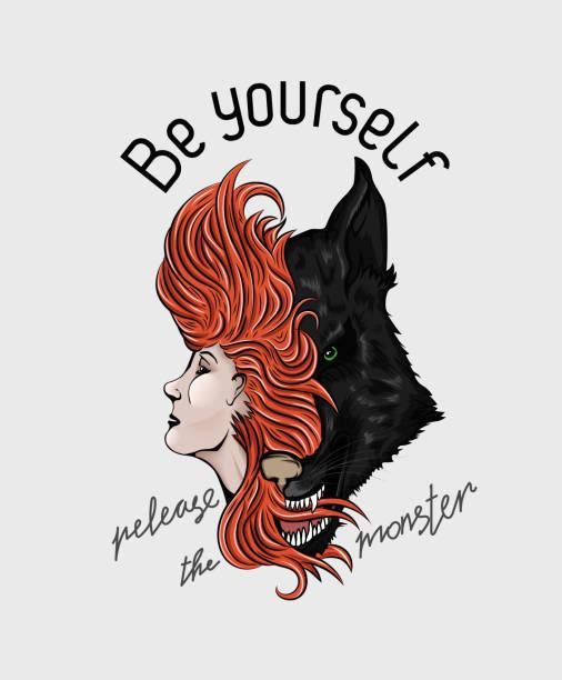 與一個和狼人的口號 t恤, 衣服和其他東西向量藝術插圖