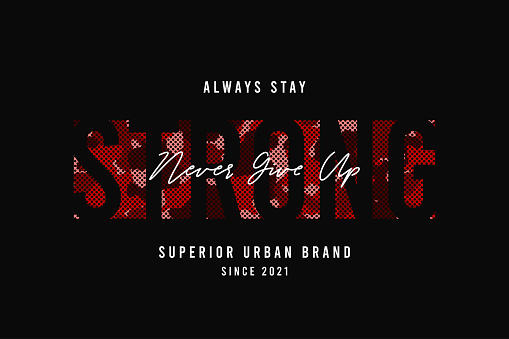 Slogan Strong for t-shirt design with red camouflage texture. Tee shirt design with camo and slogan. Typography graphics for apparel.
