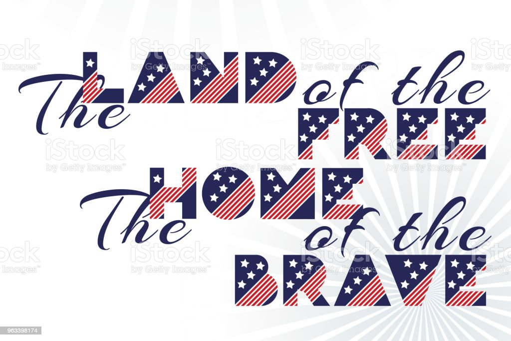 Slogan vector print for celebration design 4 th july in vintage style on white background with text The land of the free The home of the brave. - Grafika wektorowa royalty-free (Alfabet)