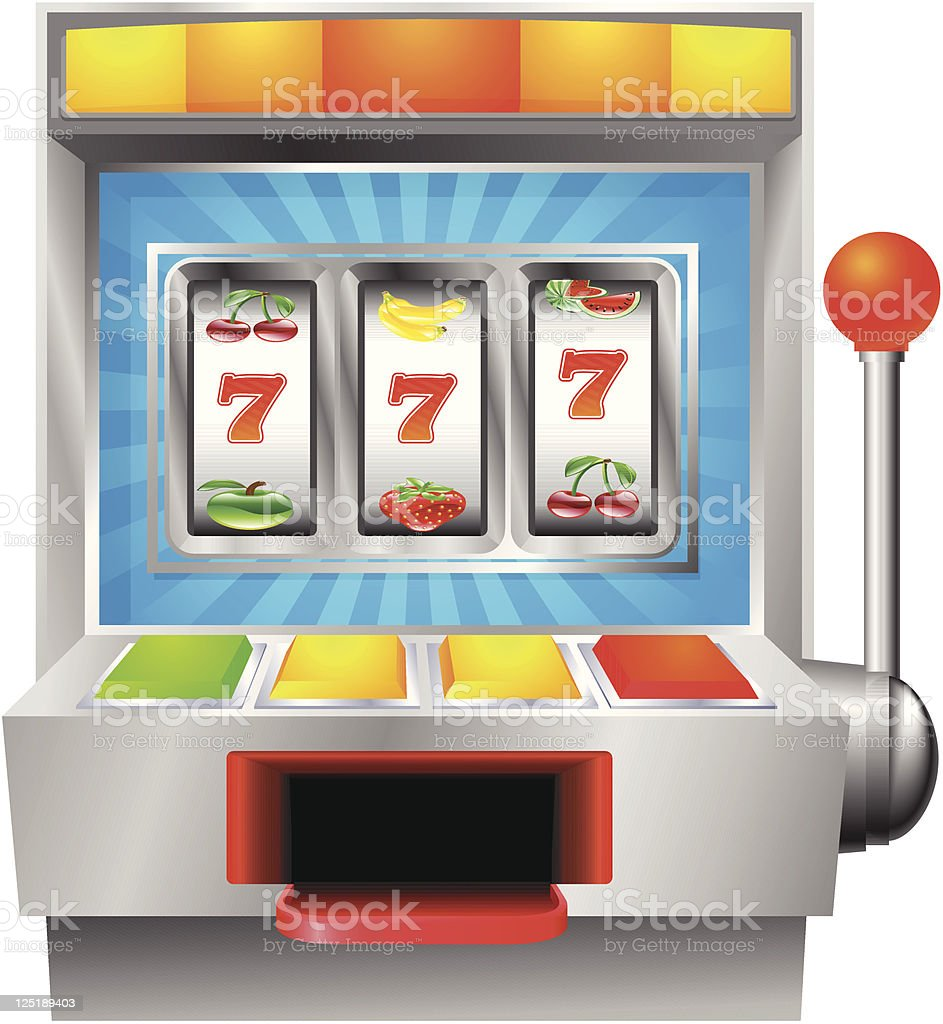 Slot fruit machine vector art illustration