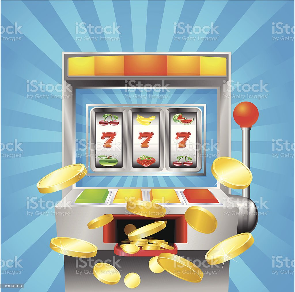 Slot fruit machine winning vector art illustration