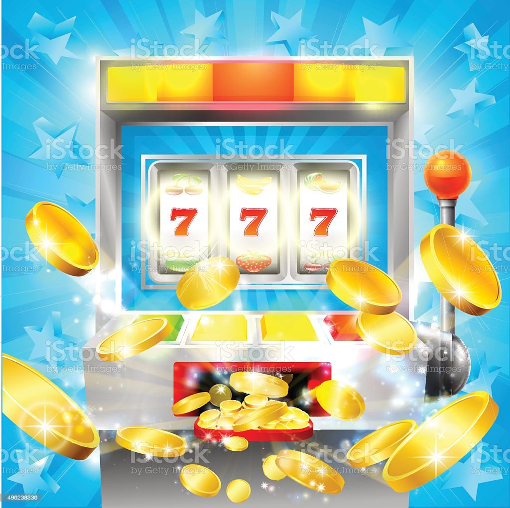 Slot Machine Casino Jackpot vector art illustration