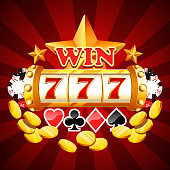 Slot machine drum with lucky sevens jackpot winning combination concept with gold coins, stars and poker chips. Casino gambling win. Flat style vector clipart