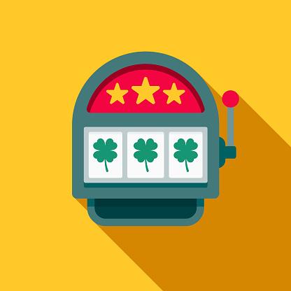 Slot Machine Flat Design Casino Icon with Side Shadow