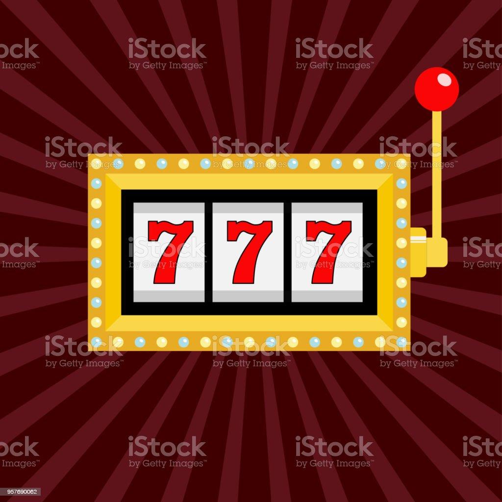 Slot machine. Golden color Glowing lamp light. 777 Jackpot. Lucky sevens. Red handle lever. Big win Online casino, gambling club sign symbol. Flat design. Bordo starburst sunburst background. векторная иллюстрация