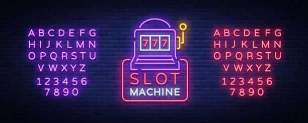 Icône de machine à sous, dans le style néon. Enseigne au néon, bannière lumineuse lumineux, panneau d'affichage nuit, lumineux, tous les soirs la publicité des casinos, machines de jeu et le jeu. Illustration vectorielle. Édition de texte néon - Illustration vectorielle