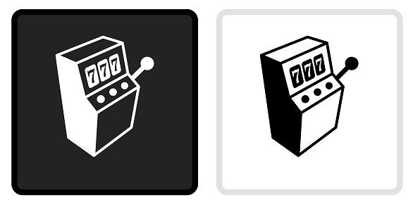 Slot Machine Icon on  Black Button with White Rollover