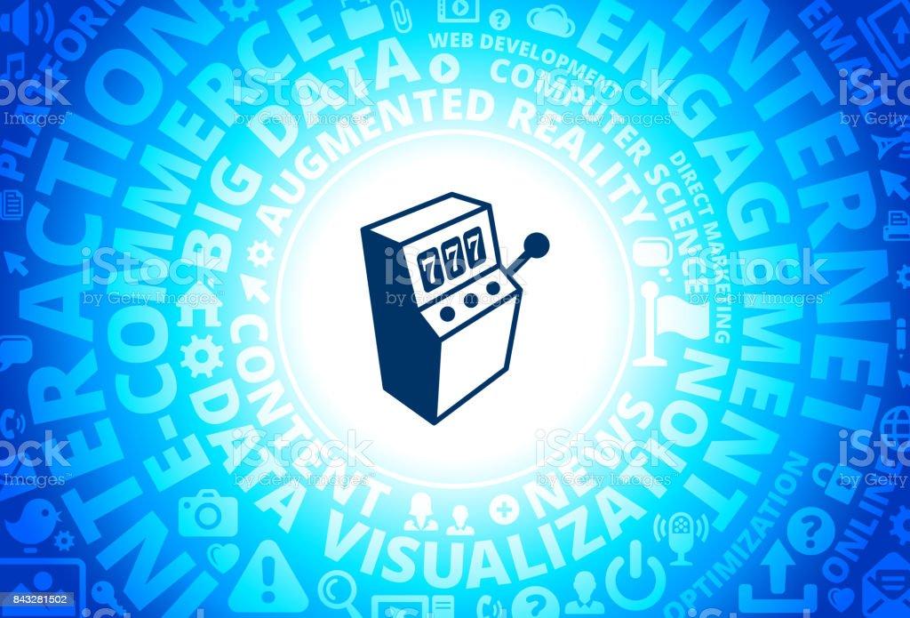 Slot Machine Icon on Internet Modern Technology Words Background vector art illustration