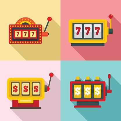 Slot machine icons set, flat style