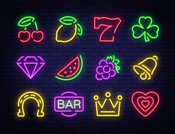 Machine à sous est une enseigne au néon. Collecte du néon signe pour une machine de jeu. Icônes de jeu de casino. Illustration vectorielle sur le Casino, la Fortune et le jeu. Jackpot - Illustration vectorielle