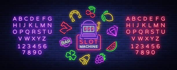 Machine à sous est une enseigne au néon. Collecte du néon signe pour une machine de jeu. Icônes de jeu de casino. Illustration vectorielle sur le Casino, la Fortune et le jeu. Jackpot. Édition de texte néon - Illustration vectorielle
