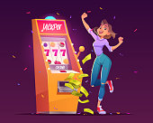 Slot machine jackpot casino win. Lucky woman celebrate winning prize jumping at money falling with all sevens spin combination on one-armed bandit, happy winner character. Cartoon vector illustration