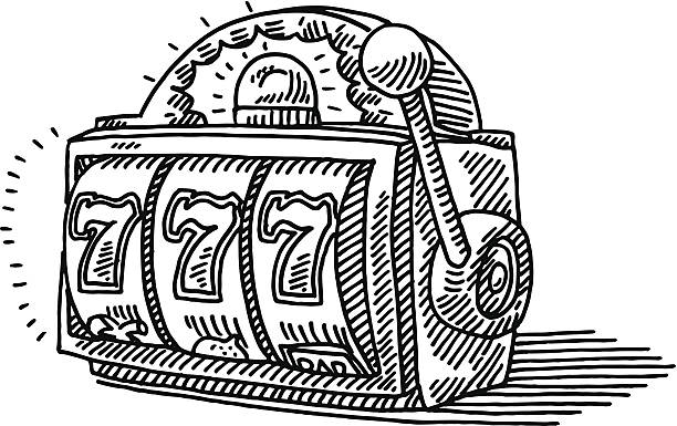 Slot Machine Jackpot Drawing Hand-drawn vector drawing of a Slot Machine showing the Jackpot 777. Black-and-White sketch on a transparent background (.eps-file). Included files are EPS (v10) and Hi-Res JPG. game stock illustrations