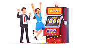 Slot machine jackpot win. Lucky man & woman couple celebrating jumping happy winning money coins with all sevens spin combination on fruit one-armed bandit. Flat style vector winner character illustration
