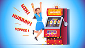 Slot machine jackpot win. Lucky woman celebrating jumping happy winning money coins with all sevens spin combination on fruit one-armed bandit. Flat style vector winner character isolated illustration