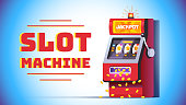 Slot machine jackpot win poster. Lucky all sevens spin combination on fruit one-armed bandit. Money coins raining from slot. Flat style vector object isolated illustration