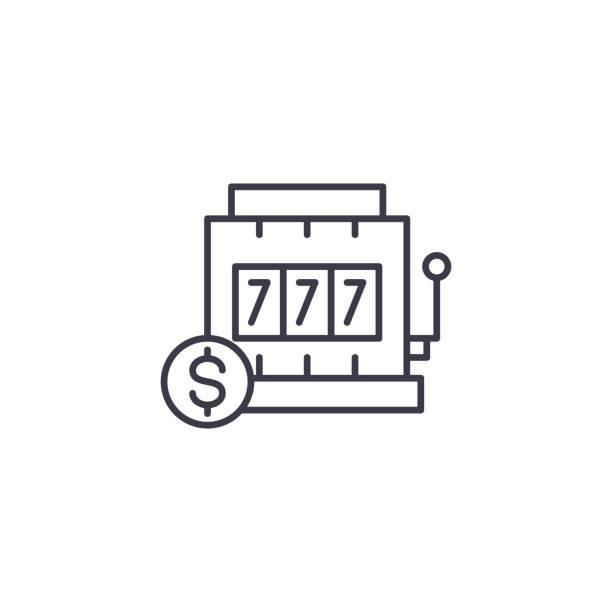 槽機線形圖示概念。槽機線向量符號, 符號, 插圖。向量藝術插圖