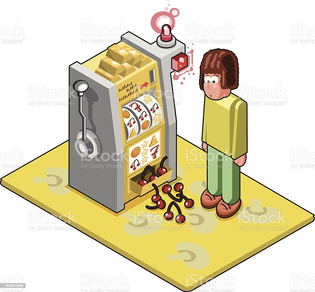 Slot machine loser wins some leftover cherries (vector) vector art illustration