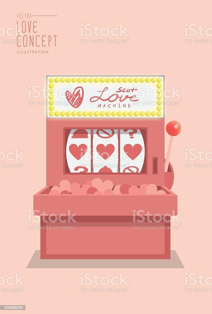 Slot machine love prediction flat vector. vector art illustration