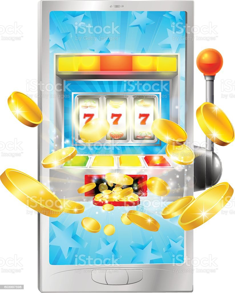Slot Machine Mobile Phone Concept vector art illustration