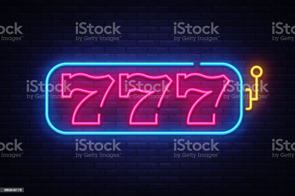 Slot Machine neon sign vector. 777 Slot Machine Design template neon sign, light banner, neon signboard, nightly bright advertising, light inscription. Vector illustration vector art illustration