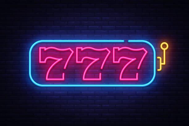 Vecteur de Machine à sous enseigne au néon. 777 Slot Machine Design modèle néon, bannière lumineuse, enseigne néon, tous les soirs la publicité lumineuse, lumière inscription. Illustration vectorielle - Illustration vectorielle