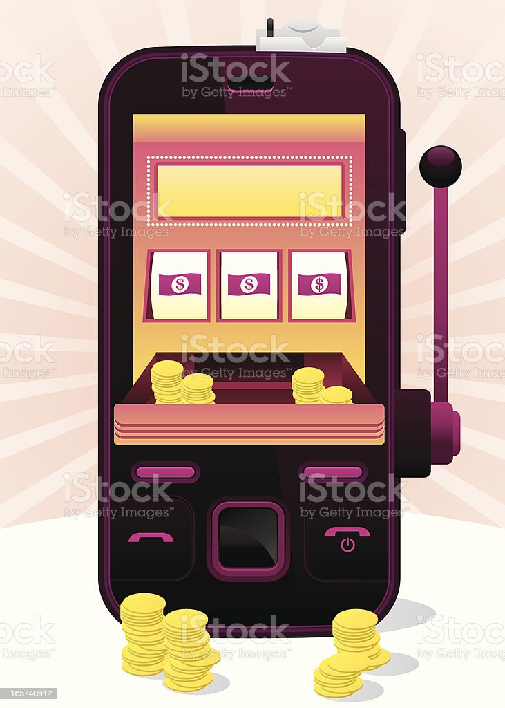 slot machine phone vector art illustration