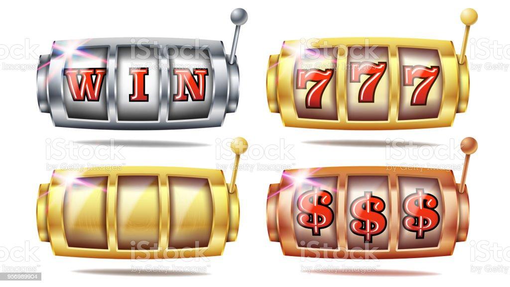 Slot Machine Set Vector. 777. Big Win Banner Element. Golden, Silver, Bronze. Spin Machine Template. Fortune Jackpot Casino Illustration vector art illustration