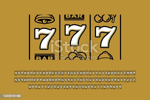 istock Slot machine style font 1053918166