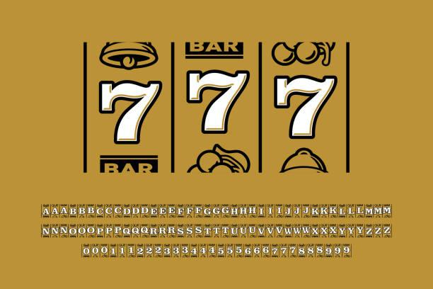 Slot machine style font vector art illustration