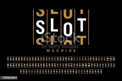 Slot machine style font, alphabet letters and numbers vector illustration