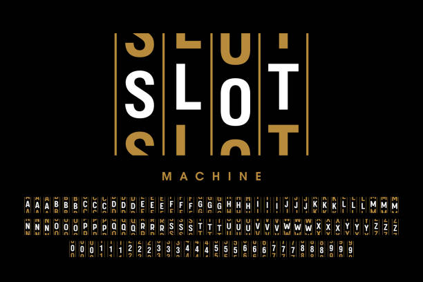 Slot machine style font Slot machine style font, alphabet letters and numbers vector illustration gambling stock illustrations