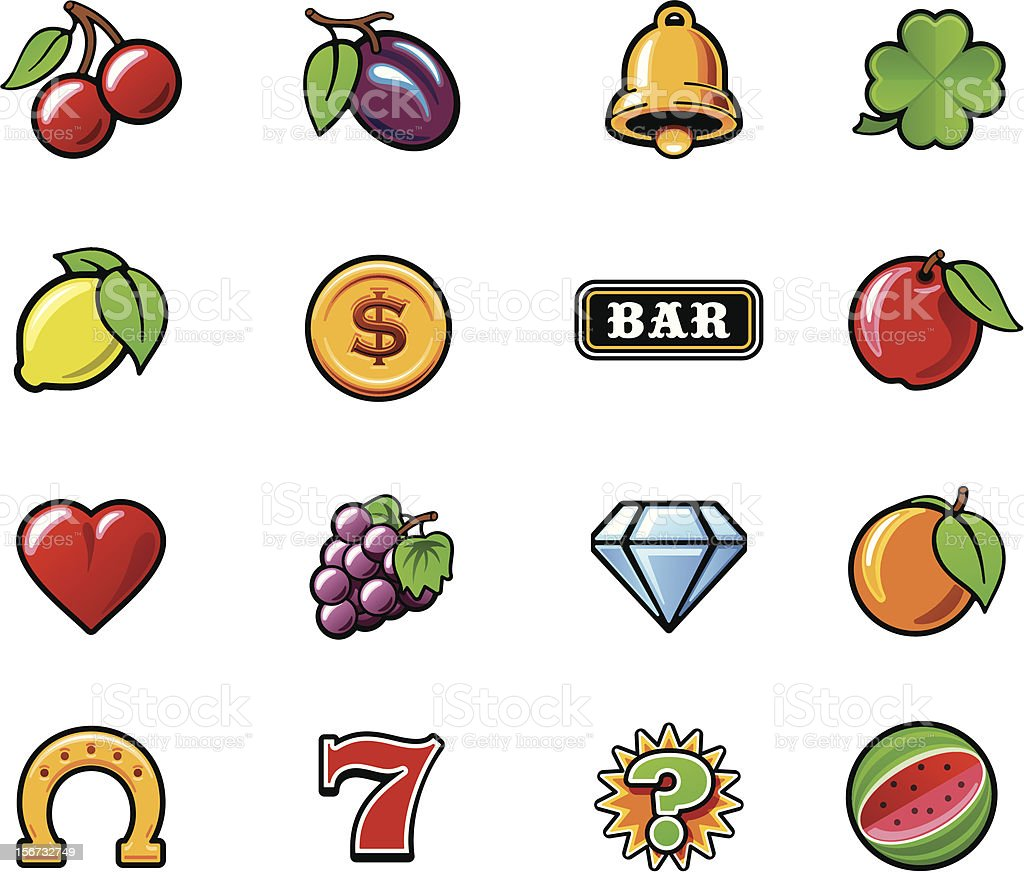 Slot machine symbols set vector art illustration
