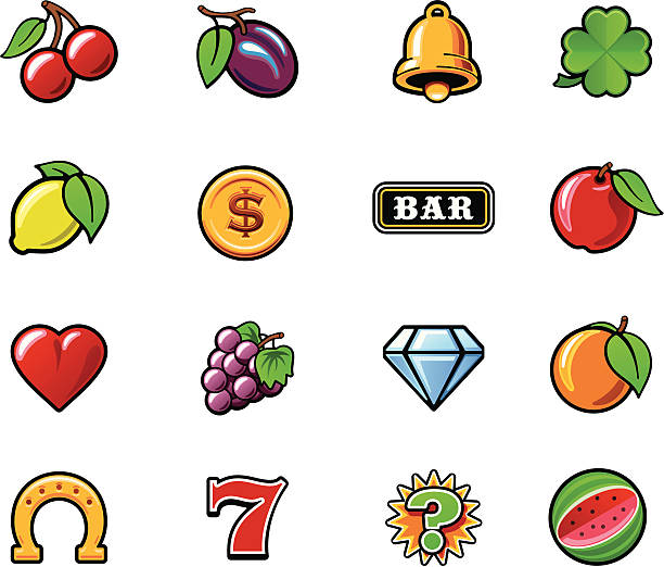 Slot machine symbols set Set of the typical vector slot machine symbols cherry stock illustrations