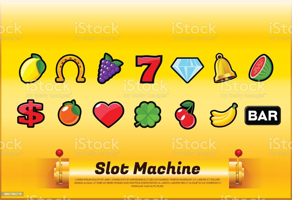 slot machine symbols vector art illustration