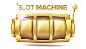 Slot Machine Vector. Golden Lucky Empty Slot. Gambling Poster. Spin Object. Fortune Jackpot Casino Illustration