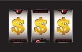 Winning slot machine in dollar sign.