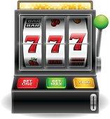 Detailed slot machine illustration. EPS 10 file. Transparency used on highlight elements.
