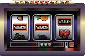 Illustration of a slot machine with three reels, slot machine symbols and the lettering WEALTH.