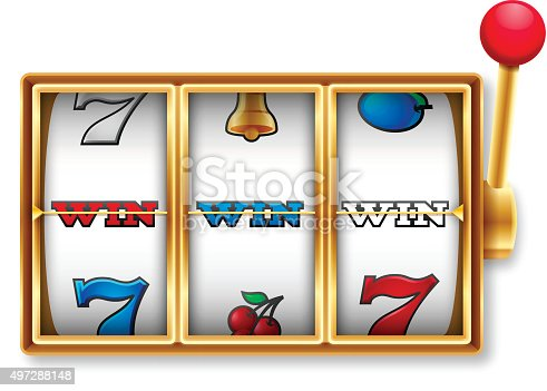 Slot machine win jackpot screen isolated on white. EPS 10 file. Transparency effects used on highlight elements.